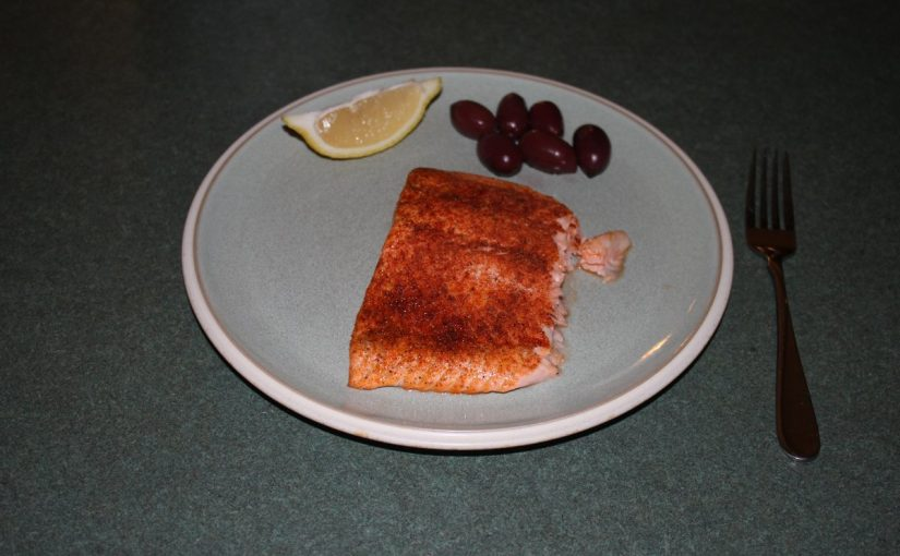 Blackened Salmon and kalamata olives